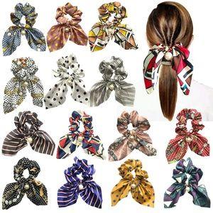 15pcs Big Bow Hair Scrunchies Satin Silk Elastic